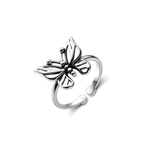 SHENSHI Anillos Mujer,Anillos Ajustables, Retro Hollow Butterfly Moda Creativa Plata De Ley 925, Anillos Dulces De Temperamento De Moda para Mujeres, Plata, Talla Única