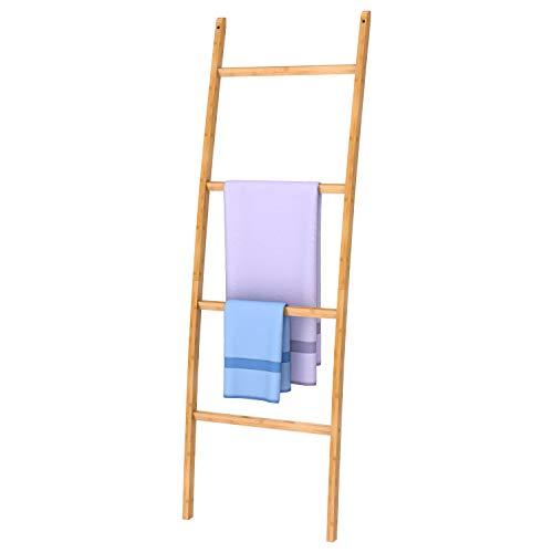 ZRI Bamboo Handtuchleiter Handtuchständer Leiter Handtuchhalter Regal mit 4 Stangen, super eleganter Kleiderständer für Badezimmer Wohnzimmer, Bambus/Natur Braun (Braun)