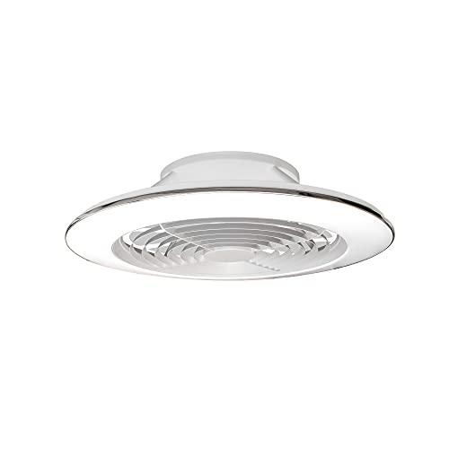 Mantra Iluminación. Modelo ALISIO XL. Ventilador y plafón de techo de 73,5 cm de diámetro en color blanco. Fuente de luz LED 95W 2700K-5000K 5900lm. Ventilador 58W