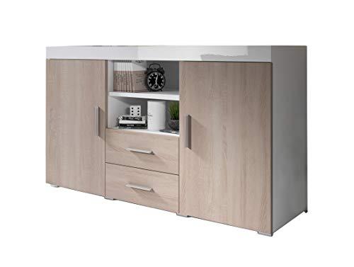 Muebles Bonitos | Aparador Moderno Roque | Ancho 140cm x Alto 80 cm x Profundo 40 cm | Mueble de Melamina en Brillo | Color Blanco y Sonoma