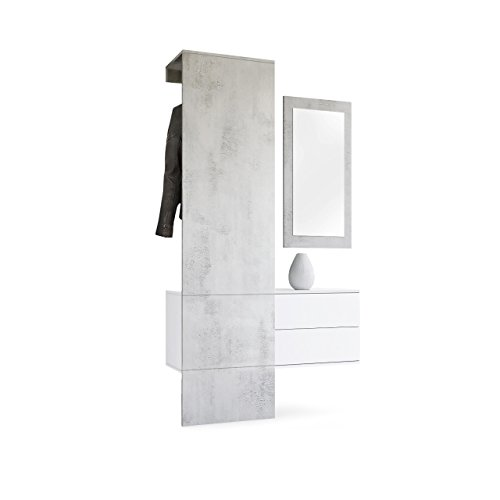 Vladon Garderobe Wandgarderobe Carlton Set 2, Korpus in Weiß matt/Paneel und Spiegel in Beton Oxid Optik