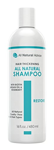 All Natural Advice Organic Hair Growth Thickening Shampoo - Regrowth All of Types of Hair with Biotin, Argan Oil and...