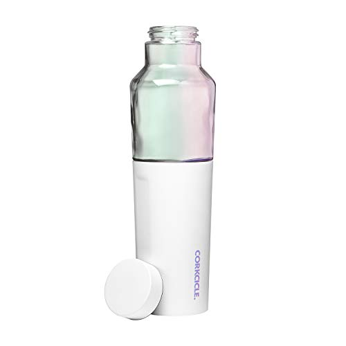 Corkcicle 20oz Hybrid Canteen - Glass Water Bottle With An Insulated Stainless Steel Twist - Prism White