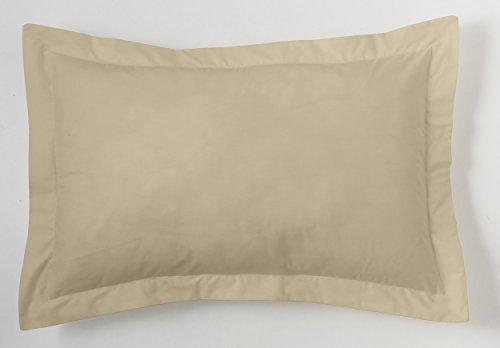 ESTELA - Funda de cojín Combi Liso Cala Color Camel - Medidas 50x75+5 cm. - 100% Algodón - 144 Hilos - Acabado en pestaña