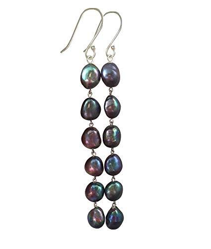 Aretes de borla larga teñidos de perla barroca perla negra