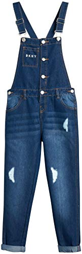 DKNY Girls' Overalls – Stretch Denim Cuffed Jeans Overalls with Adjustable Straps, Size 8