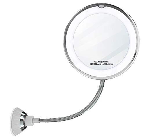 "14 LED Suction Cup Makeup Mirror - 6.5"" 10X Mirror, Flexible 360 Degree Swiveling Gooseneck Cordless Bathroom Vanity Mirror - With Power Locking Suction Cup - LED Natural Diffused Bright Light - Porta"
