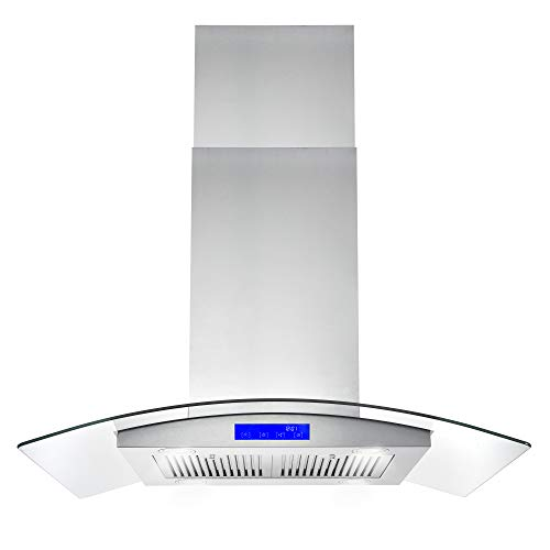 Cosmo 668ICS900 36-in Kitchen Ceiling Island Mount Range Hood 900-CFM with Chimney, LED Lights, Permanent Filters, and Convertible Duct, in Stainless Steel