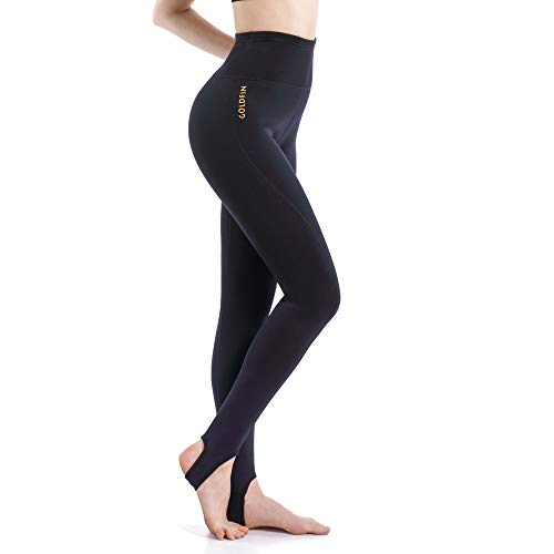 GoldFin Women's High Waist Wetsuit Pants, 2mm Neoprene Scuba Leggings with Pocket Keep Warm for Swimming Water Aerobics Diving Surfing Snorkeling, SS023 (Black, 3XL)