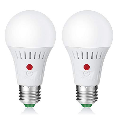 Elrigs LED Lampe mit einstellbarem Tageslichtsensor, E27 Lichtsensor Glühbirne, verstellbarer Dämmerungssensor, 7W ersetzt 60W, Warmweiß(3000K), Doppelpack