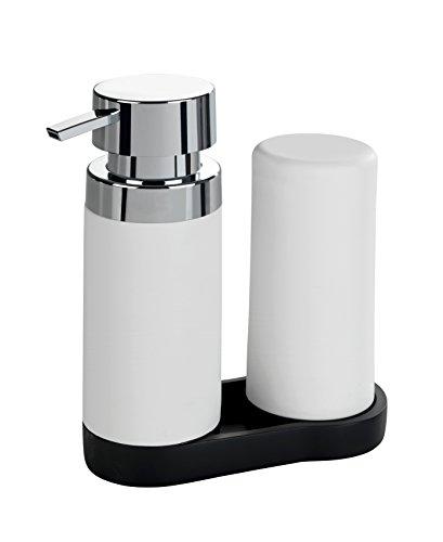 Wenko Easy Squeez-e Spülstation - Seifenspender und Spülmittelspender, Fassungsvermögen: 0,25 l, 15 x 18 x 7 cm, weiß