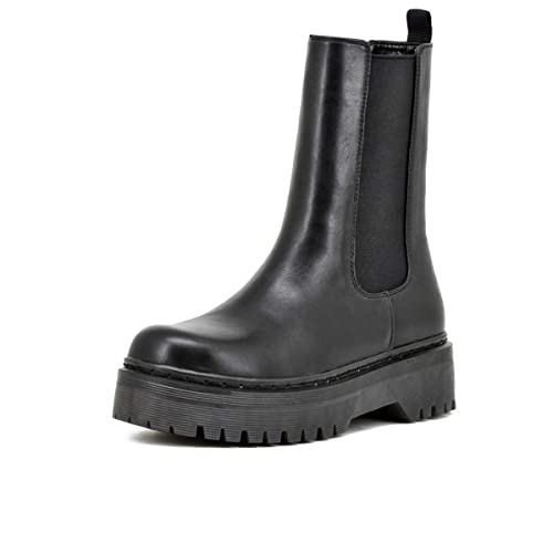 QUEEN HELENA X23-103 Chelsea Boots Stivaletti con Plateau Donna Nero 36 EU