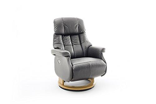 Robas Lund Leder Relaxsessel elektrisch 150 Kg TV Sessel, Relaxer Fernsehsessel Echtleder schlammfarben, Calgary Comfort XL, schlamm