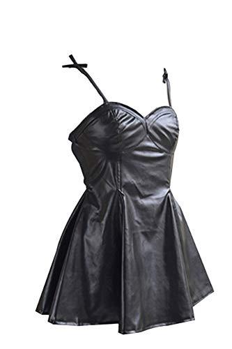 Linen Family Cosplay de Anime para Mujer Disfraz de Gasai Yuno Vestido Plisado Sexy de Cuero Negro