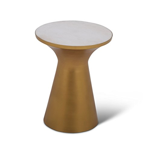 Steve Silver Jaipur 16' Round Marble Top Accent End Table in Brass