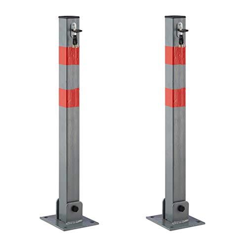 2 x Absperrpfosten eckig, Parkplatzsperre klappbar, Parkpfosten mit Warnstreifen, 3 Schlüssel