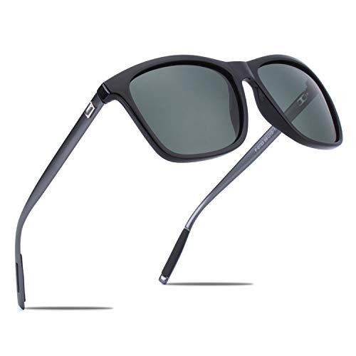 CGID Eckige Retro Sport Designer Klassische Sonnenbrille für Männer und Frauen Polarisierte Sonnenbrille Brille Al-Mg Metall Bügel Ultra Leicht 100% UV400 Schutz Schwarzer Rahmen Grüne Linse MJ33