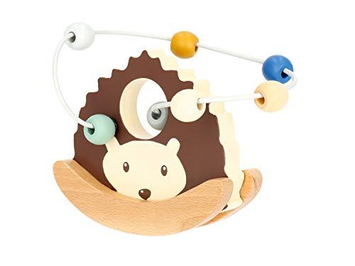 Bieco Motorikschleife Igel mit Wippe | Motorikspielzeug ab 1 Jahr | Niedliches Labyrinth Spiel in Reh Design | Motorikspielzeug Baby in sanften Farben | Holzspielzeug Baby | Lernspielzeug aus Holz