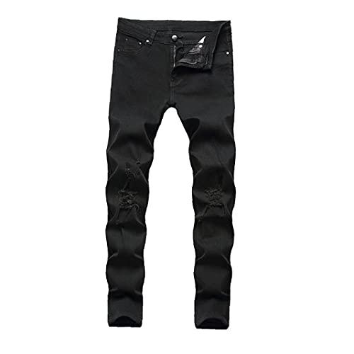 Tuimiyisou Hombres Ripped Jeans Slim Straight Stilist Mid-Cintura De Algodón Pantalones De Mezclilla Style2 Tamaño42