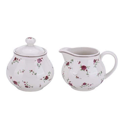 Lonovel Cream & Sugar Sets with Lids Porcelain Vintage Floral Sugar Bowl and Creamer Set In Beige Ceramic Sugar and Creamer Sets for Home and Kitchen Dining Serving,Rose
