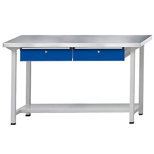 ANKE Werkbank | Arbeitstisch | Werktisch, stabil, 2 Schubladen, 1 Ablageboden, Breite 1500 mm, Stahlblechbelagplatte