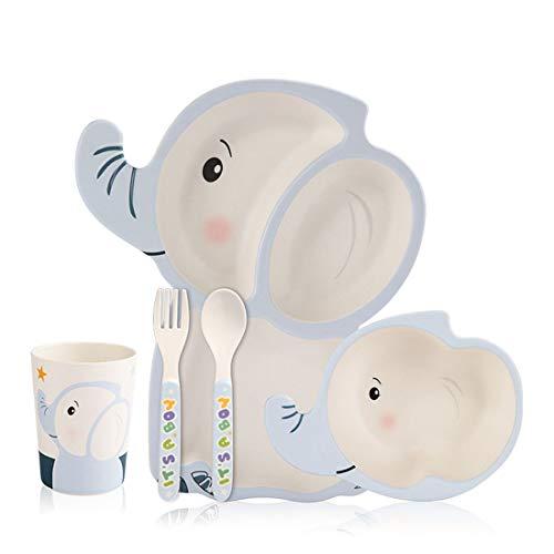 Children's Plate {5piece set}, cartoon baby bamboe bord kom, milieuvriendelijke vriendschappelijke kinderen plaat kindje servies kan worden gewassen, die geschikt zijn voor meer dan 6 maanden