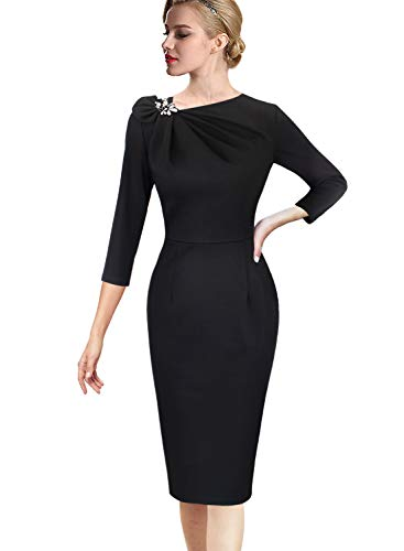 VFSHOW Womens Pleated Asymmetric Bow Neck Work Cocktail Party Sheath Dress 020 BLK XS