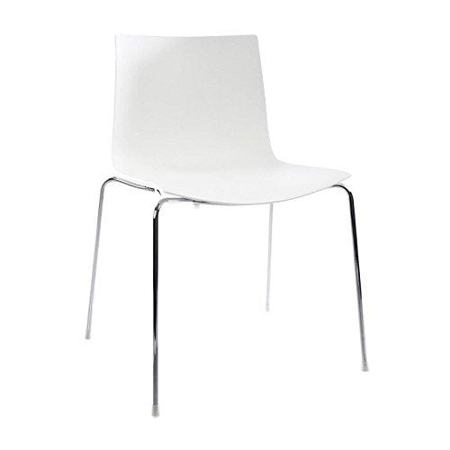 arper Catifa 46 Stuhl einfarbig Gestell Chrom, weiß Außenschale glänzend innen matt BxTxH 56,5x50,5x80cm Gestell Stahl vechromt