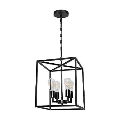 4-Light Industrial Metal Farmhouse Chandelier Black Lantern Pendant Light Hanging Light Fixture for Kitchen Island Living Room Foyer Dinning Room Bedroom