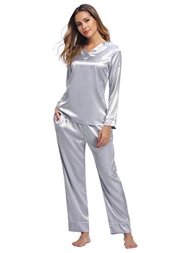 Hawiton Pijama Mujer Saten Pijamas Raso Mujer Invierno de Manga Larga Kimono Satén Ropa de Casa 2 Piezas