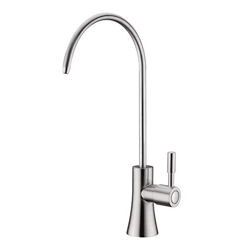 EKRTE Modern Best Brass Lead Free Drinking Water Purifier Faucet, Commercial Water Filtration Faucet Brushed Nickel Kitchen Bar Sink Drinking Water Purifier Faucet