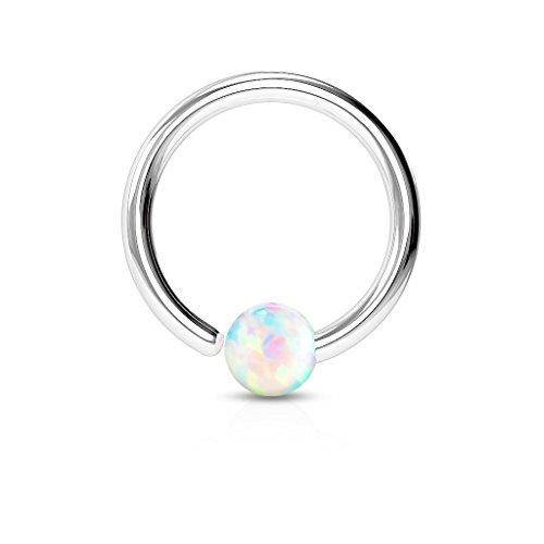 Paula & Fritz® Ring aus Edelstahl Chirurgenstahl 316L [Dicke: 0.8mm; Länge: 8mm; Kugelgröße: 2mm] für Lippe, Nase, Augenbraue mit Opal Weiß