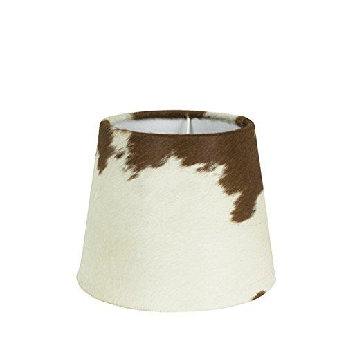 Rustikaler Kuhfell- Lampenschirm in braun/weiß, 20cm