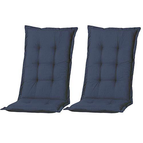 Nordje Hochlehner-Auflagen Comfort Gartenmöbel-Auflage 2er Set | In unterschiedlichen Farben (Blau)
