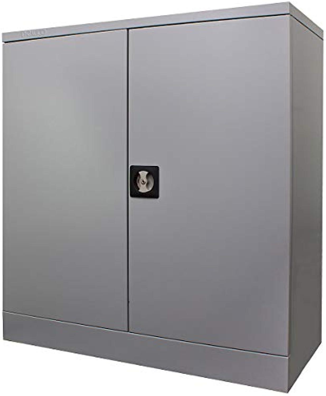 Newpo Stahlschrank  2 Ordnerhhen  2 Fachbden  HxBxT 100 x 92 x 42 cm  Grau  Aktenschrank Schrank Metallschrank Stahlschrank Werkstattschrank