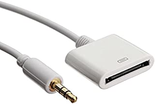 Clip-Grip 30 Pin Female Dock Docking Connection to 3.5mm Male Audio Output AUX Cable, White