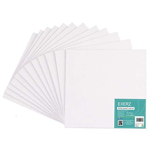 Exerz Paneles de Lienzos 20x20cm Paquete de 12 / 280GSM/ 100% Algodón/Color Blanco/Triple Preparado/Libre de Acido/Hebra Media/ 0,3cm de Espesor