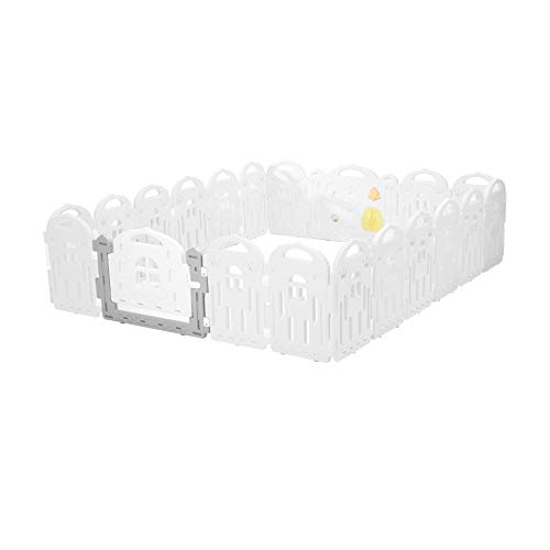 Baby Playpen, Castle Panel + 2 Gates | Portable Play Yard Gate for Babies, Infant, Toddlers | Large Indoor/Outdoor Plastic Play Pen with Panels | Safety Locking Playgate Fence for Kids (White, 18)