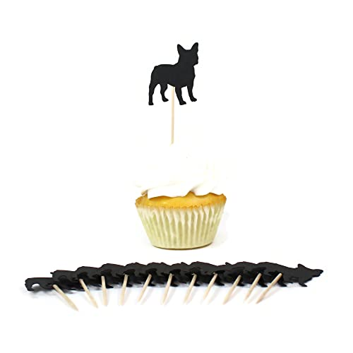 French Bulldog Cupcake Toppers | Black Frenchie Dog Set of 12 Party Decorations | Pet themed Decor Toothpicks
