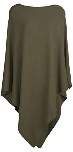 styleBREAKER Damen Leichter Feinstrick Poncho in Unifarben, leicht asymmetrischer Schnitt, Ärmellos, Rundhals 08010076, Farbe:Oliv