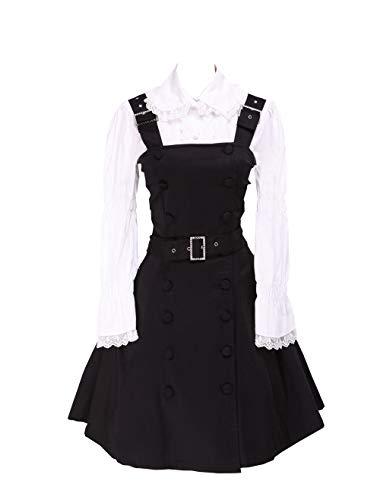 Antaina Vestido de Coser de Lolita de Estudiante de Punk Gótico de Encaje Negra cinturón de algodón