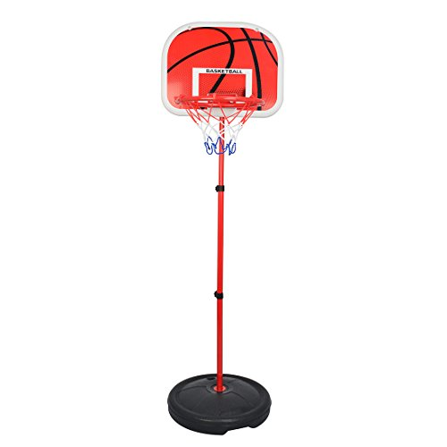 MAJOZ0 Canasta de baloncesto para niños, 170 cm, ajustable, altura regulable, soporte para canasta de baloncesto y hoop para niños, con balón de baloncesto e inflador