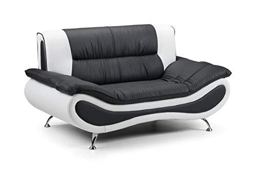 Honeypot - Sofa - Napoli - Faux Leather - 2 Seater - Black/White