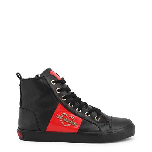 Moschino Scarpe Donna Love Sneaker Alto in Ecopelle Nappa Nero D20MO14, 40 EU