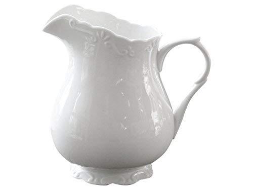 Chic Antique | Edle Kanne Kännchen Milchkanne Wasserkrug | H 18 cm 1 Liter | 100% Porzellan Weiß | perfekt für Kaffeekränzchen, Tea Time und Dekoration | aus der Provence-Serie