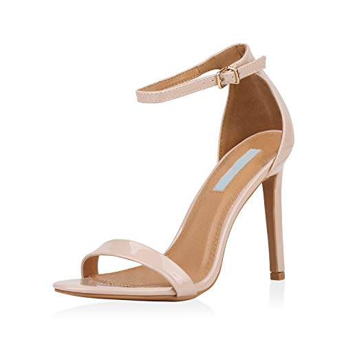 SCARPE VITA Damen Sandaletten Riemchensandaletten Stiletto High Heels Leder-Optik Party Schuhe Elegante Abendschuhe Absatzschuhe 177353 Nude 40