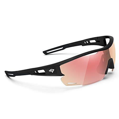 TOREGE Polarized Sports Sunglasses for Men Women - UV Protection Cycling Sunglasses for Running Fishing Cycling Driving Baseball Golf Glasses TR90 Frame TR21 Sniper (Bright Black&Black&Red Revo Lens)