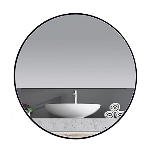 ANDY STAR Round Wall Mirror for Bathroom, 30 Inch Black Circle Mirror Modern Premium Stainless Steel...