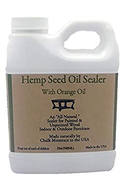 Chalk Mountain Brushes 32oz Hemp Seed Oil Citrus Scented Furniture Sealer. Beautifys and Protects Painted and Unfinished Wood. Safe to use Indoor and Outdoors