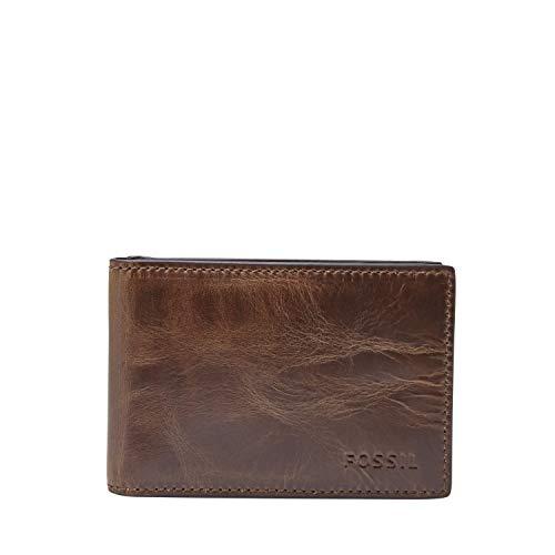 Fossil Men's Derrick Leather Slim Minimalist Magnetic Money Clip Bifold Front Pocket Wallet, Dark Brown